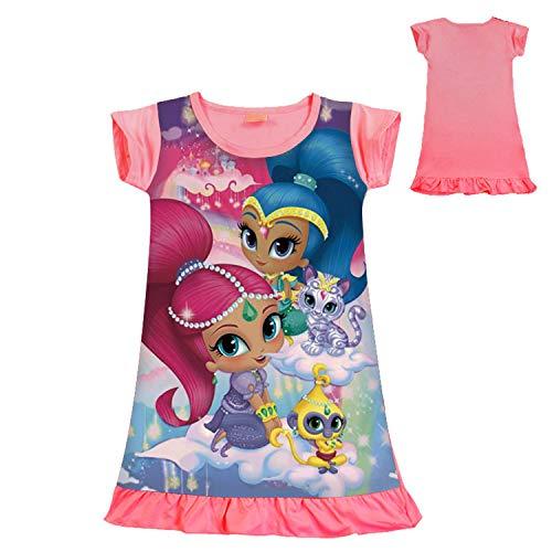 PCLOUD Toddler Girls' Shimmer and Shine Short Sleeved Dress Nightdress