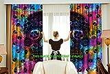 HANDICRAFT-PALACE Indian Tie Dye Multicolored Skull Skeleton Cotton Curtain Valances Window Hanging Door Decor Room Divider 2 PC Curtains