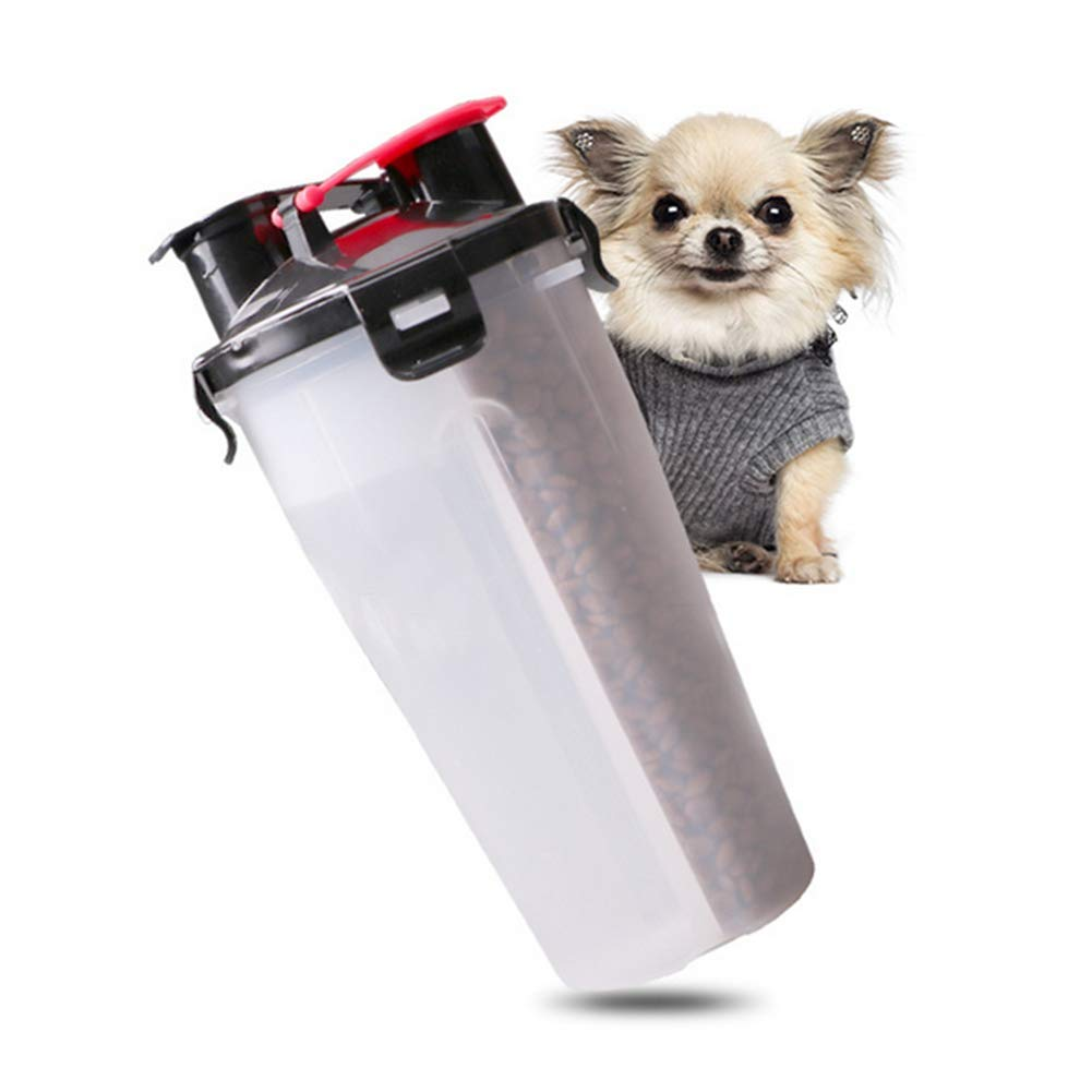 White Pet Water Drinker Portable 2 In 1 Portable Travel Dual Chambered Pets Drinking Cup Dog Cat Pet Puppy Travel Water Cup For Outdoor Trip,White