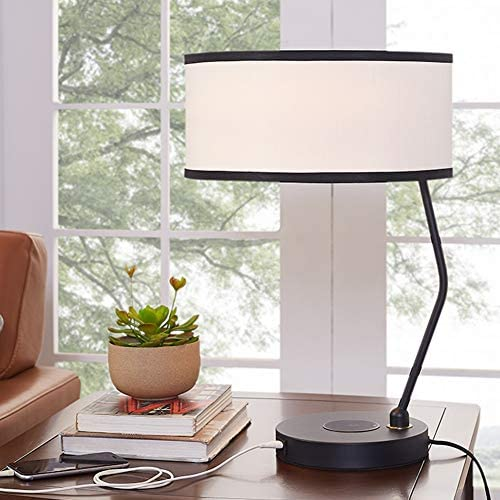 Nightstand Lamp Desk Lamps Table Lamps Creative Living Room Decoration Reading Table Lamp Bedside Table Lamp with USB Charging Port ZHAOYONGLI (Color : Black)