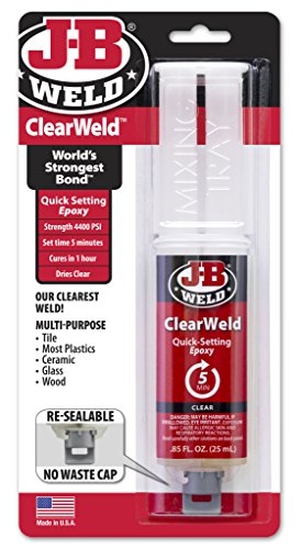 J-B Weld 50112 ClearWeld Quick-Setting Epoxy Syringe - Dries Clear - 25 ml (Bead Crystal Single)