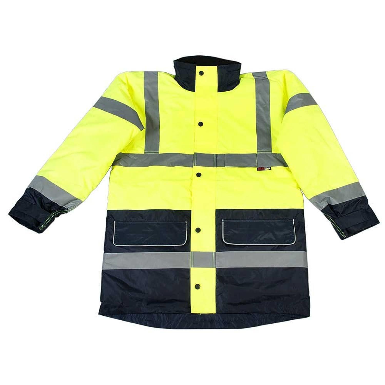 High Visibility Viz Mens Work Two Tone Yellow/Navy Waterproof Padded Coat Jacket
