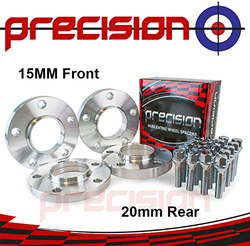 Staggered Fitment Hubcentric Alloy Wheel Spacers 15mm/20mm for ƁMW 5 Series Alloy Wheels E39 Part No. 2PHS6+2PHS7+10BM1740+10BM1745111 Precision