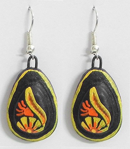 DollsofIndia Pair of Hand Painted Yellow with Red Design on Black Terracotta Dangle Earrings - Terracotta (HQ22)