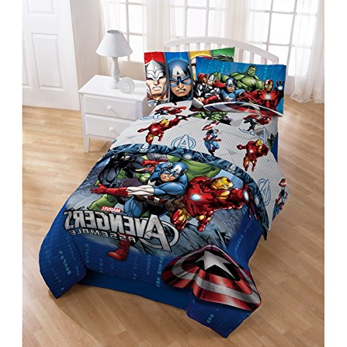 4 Piece Boys Marvel Avengers Assemble Comforter Twin Set, Fun Captain America Iron Man The Hulk Thor Graphic Characters Bedding, Stylish Halo Shield Action Character Graphic Themed Navy Blue Red White