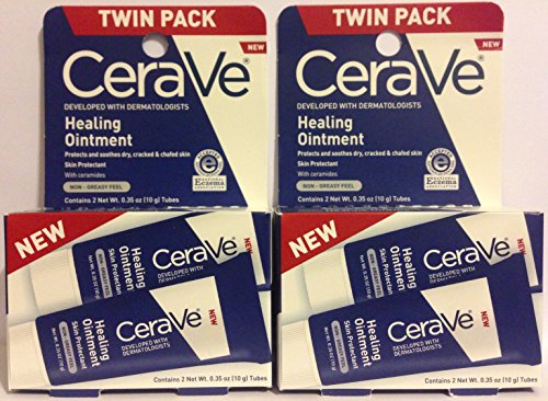 CeraVe Healing Ointment - Skin Protectant With Ceramides - Net Wt. 0.35 OZ (10 g) Per Tube - 2 Count Tubes Per Package - Pack of 2