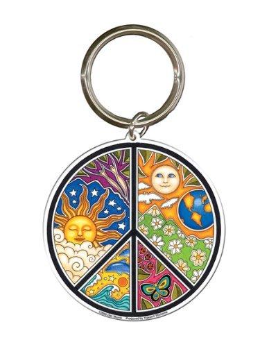 (Dan Morris - Peace Sign - Metal Keychain)