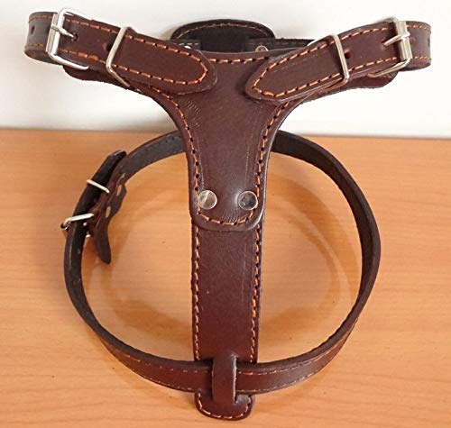 FidgetGear New Quality Black Brown Leather Dog Harness Medium Large Dog Chest Plate Harness Brown Large