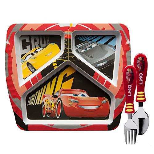 Zak Designs CRSG-2071-AMZ Cars 3 Kids Dinnerware Sets Plate + Flatware 3pc