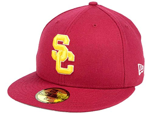 New Era 59Fifty Men's Hat Trojans USC College Cardinal Red 2016 Classic Fitted Cap (7 3/8)]()