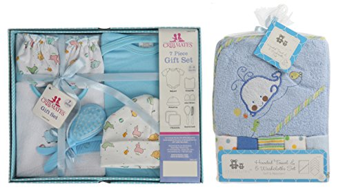 Baby Boy Bath Items Giftset-7 pc and Baby Hoded Towel with Washclothes Bundle, includes Bib,Baby Cap, Baby Mittens, Creeper , Brush and Comb -Blue by babyEZFITBAND