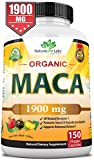 Organic Maca Root Black, Red, Yellow 1900 MG per Serving - 150 Vegan Capsules Peruvian Maca Root Gelatinized 100% Pure Non-GMO Supports Reproductive Health Natural Energizer