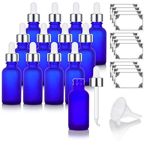 1 oz Frosted Cobalt Blue Glass Boston Round Bottle with Silver Metal and Glass Dropper (12 pack) + Funnel and Labels for Essential oils, Aromatherapy, E-liquid, Food grade, BPA free