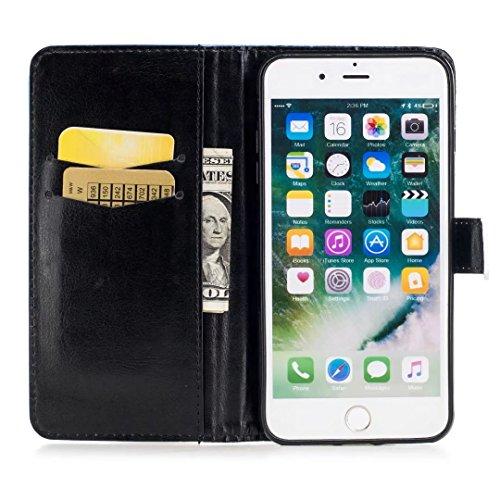 COWX iPhone 8 Plus Hülle Tasche PU Lederhülle für Apple iPhone 8 Plus Tasche Brieftasche Wildgänse Federn