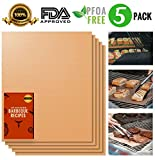 ninja run g - Copper Grill Mat Set of 5 | 100% Non-stick BBQ Grill and Bake Mat | Heat Resistant | Reusable and Easy to Clean | Includes a FREE eBook | Grilling Made Simple | FDA-Approved, PFOA Free - 15.75 x 13