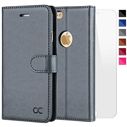 OCASE iPhone 6S Case [Free Screen Protector Included] Leather Flip Wallet Case for iPhone 6 / 6S Devices - Gray