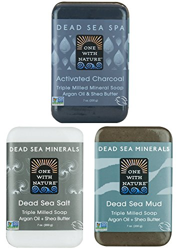 (DEAD SEA Salt Mud Charcoal - Soap Variety Pack, Dead Sea Mud, Dead Sea Salt, Activated Charcoal. With Shea Butter, Argan Oil. All Skin type, Problem Skin. Acne Treatment, Eczema, Psoriasis, 3/7oz Bars)