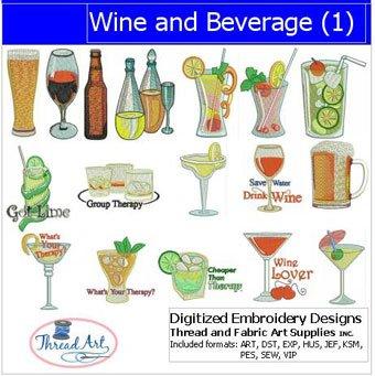 (Threadart Machine Embroidery Designs -Wine and Beverage(1) - USB Stick)