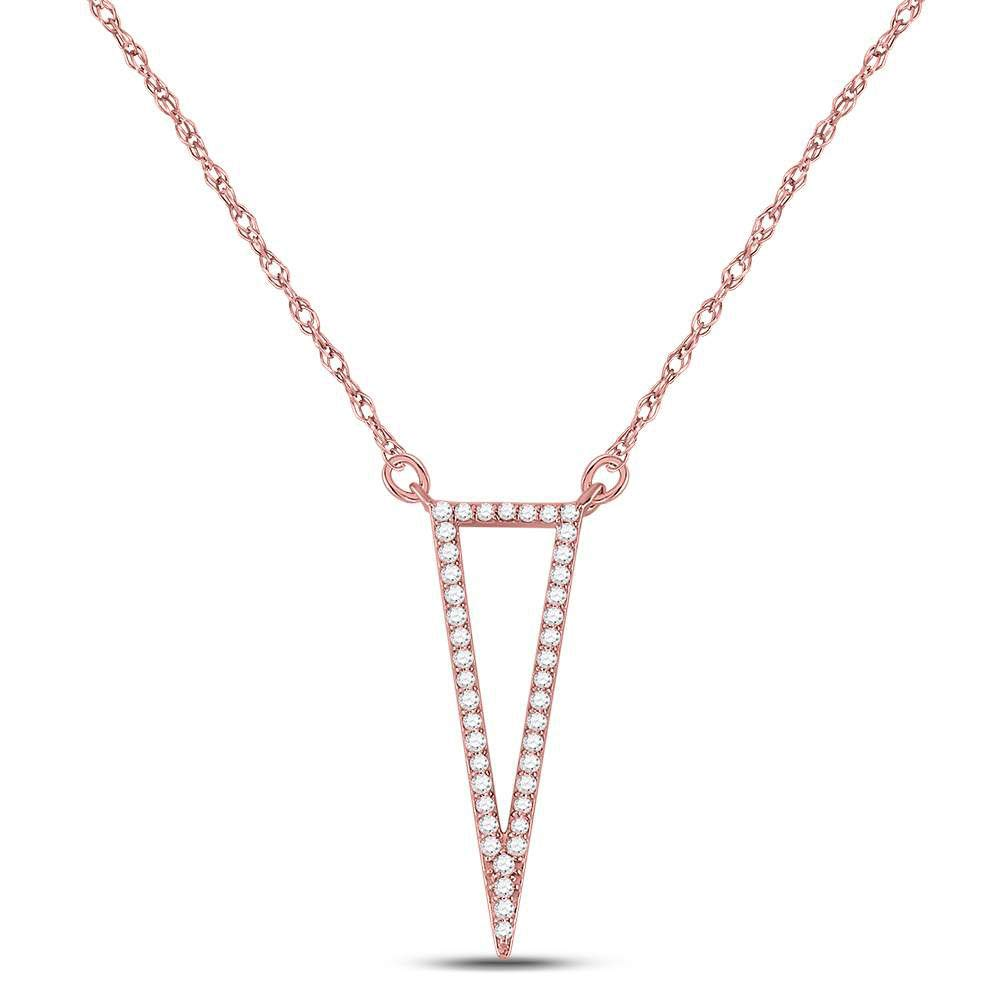 The Diamond Deal 14kt Rose Gold Womens Round Diamond Triangle Fashion Pendant Necklace 1/4 Cttw