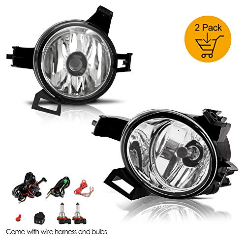 AUTOWIKI Driver and Passenger Fog Lights Lamps Replacement Set for 2005-2006 Nissan Altima / 2004-2006 Nissan Quest - Clear Lens - (Wiring Kit Included) ...