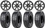 "Bundle - 9 Items: STI HD4 14"" Wheels Black 28"" Chicane RX Tires [4x137 Bolt Pattern 12mmx1.5 Lug Kit]"