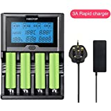 Smart 18650 Battery Charger 12A LCD Screen Universal Rapid Battery Charger Li-ion/IMR/INR 18650 RCR123 Rechargeable Battery Power Bank Function