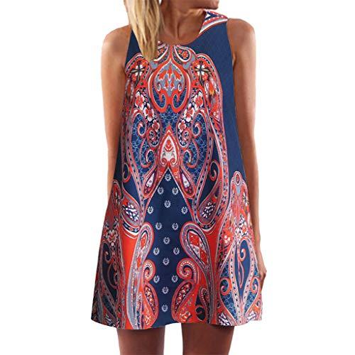 Seaintheson Women Dress, Womens Summer Sleeveless Mini Skirt 3D Floral Print Vintage Boho Beach Loose Short Tank Dress ()