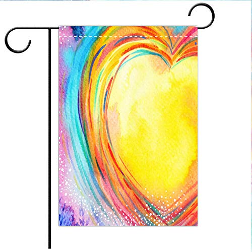BEICICI Custom Personalized Garden Flag Outdoor Flag Yellow Moon Heart Watercolor Painting Illustration Design Valentine Wedding Symbol Best for Home Outdoor Decor and Party Yard ()