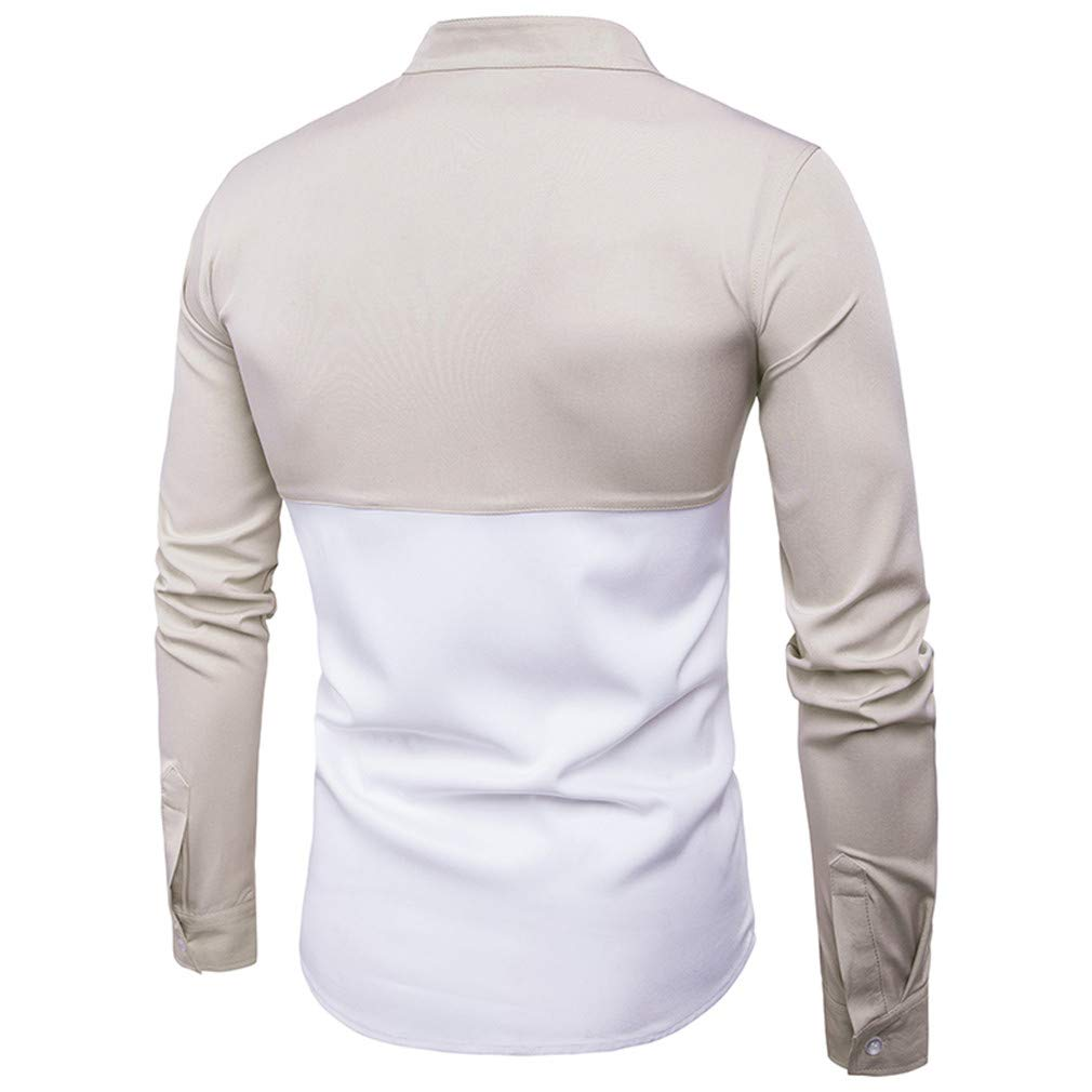 Usopu Mens Casual//Daily Going Out Slim Fit Color Block Stand Collar Long Sleeve Shirt