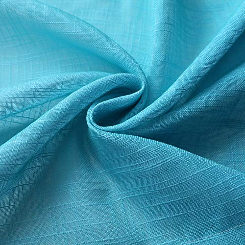 Melodieux Linen Textured Ombre Semi Sheer Curtains for Bedroom Living Room Mermaid Girls Kids Rod Pocket Gradient Drapes, Blue Purple Cyan Turquoise Teal Lilac, 52 x 63 Inch (2 Panels)