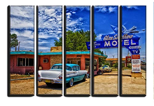 Large Set American Vintage Car Picture Wall Art Decor on Canvas 5 Panels Pieces / 1958 Chevrolet Biscayne Route 66 Tucumcari New Mexico Classic Car Print Poster Wall Art Painting 35 by 55 inches