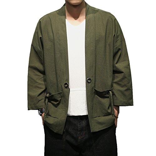 Men's Cotton Blends Linen Open Front Cardigan Embroidery Kimono - Jacket Linen Shirt Blend