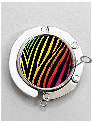 BlackKey Zebra Skin Pattern Metal Folding Table Hook Hanger Holder for Purse Handbag Bag -1320