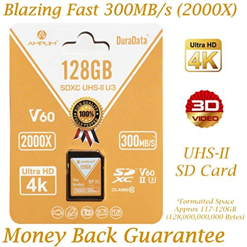 128GB V60 UHS-II SDXC SD Card – Amplim Blazing Fast 300MB/S (2000X) UHS2 Extreme High Speed 128 GB/128G SD XC Memory Card. 4K 8K Video Camera UHSII Card for Fujifilm, Nikon, Olympus, Panasonic, Sony