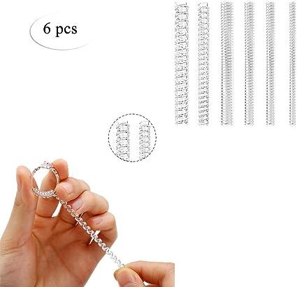 6-pack Ajustador de Talla de Anillo Bobina de resorte transparente Anillo Guardia Snuggies para Anillos Sueltos tamaño 2 (1.2 mm / 2.5 mm): Amazon.es: Belleza