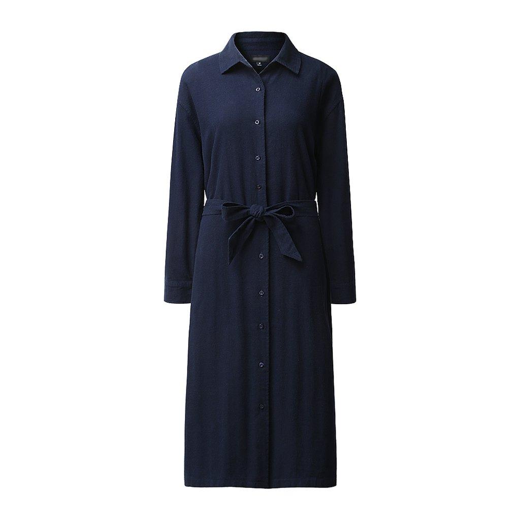 Autumn Winter Shirt Long-Sleeved Women's Long Coat Loose Cotton Blouse (Color : Dark Blue, Size : M) by LI SHI XIANG SHOP (Image #1)