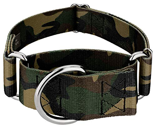 Country Brook Petz - 1 1/2 Inch Woodland Camo Martingale Dog Collar - Large