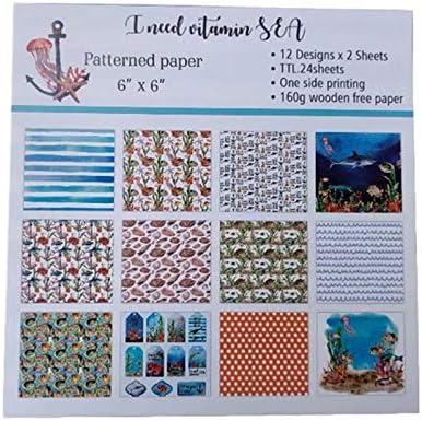 Liroyal カードバックグラウンド スクラップブックキット DIYスクラップブッキング 24シート ファミリーフォトアルバムデコレーション DIYペーパーフォトアルバム ペーパーハンドカウント ペーパーバックグラウンド 6インチペーパーパターン Blue