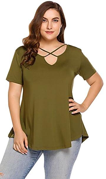 Camisetas Grandes Mujer Verano Tiras Camisas Cruz Tops Cuello V Tunicas Blusas ala Moda Fiesta Camisas