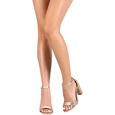 BAMBOO Womens Open Toe Jeweled Rhinestone Ankle Strap Chunky Heel Dress  Pump Sandal 7.5 Rose Gold