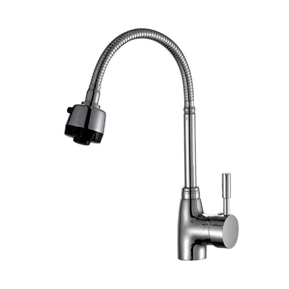 Olydmsky Kitchen tap Pull Out,Pull-Type hot and Cold Faucet Kitchen wash Basin All Copper Telescopic can be redated