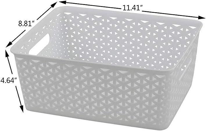 Set of 4 Dehouse White Plastic Woven Storage Baskets