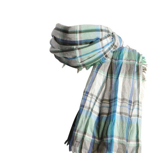 Coton Du vert Foulard Pur Bleu Echarpe Madras Allée 8Xavdwxa
