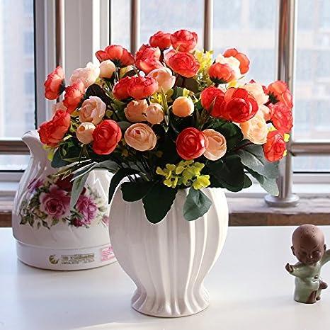 T Continental emulación rosa Artificial flores adornos Sala de estar mesa de comedor Botella de plástico maceta, amueblada + 4 Durian arnés pequeño ...