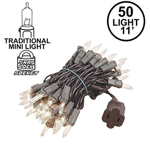 Novelty Lights 50 Light Clear Christmas Mini String Light Set, Brown Wire, Indoor/Outdoor UL Listed, 11' Long -