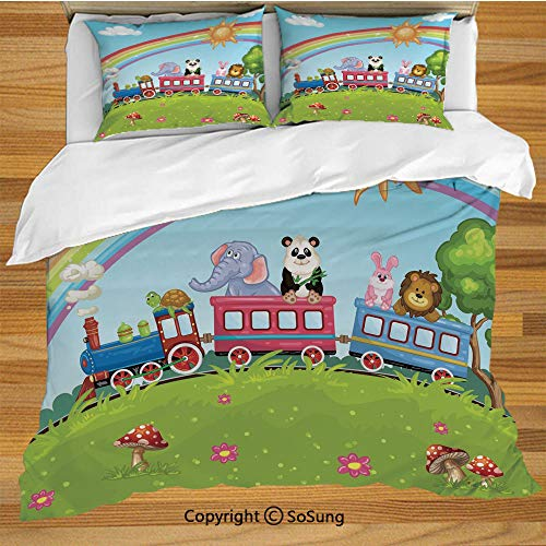 Zoo Queen Size Bedding Duvet Cover Set,Colorful Cartoon Animal Train Rainbow Sun Sky Mushrooms Flowers Tree Playful Funny Decorative 3 Piece Bedding Set with 2 Pillow Shams,Multicolor