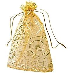 Leegoal 100pcs Champagne Eyelash Organza Drawstring Pouches Jewelry Party Wedding Favor Gift Bags