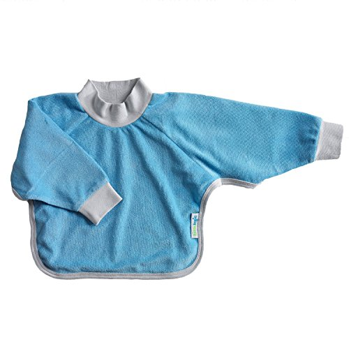 Price comparison product image Kiddologic bibit-all Baby & Toddler Long Sleeved Full Coverage Pullover Waterproof Terry Bib (6-12 months (infant), sky blue)