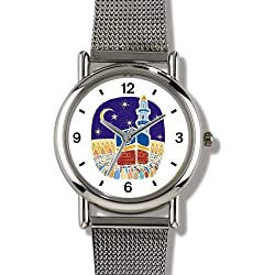Mecca or Makkah al-Mukarramah - The Kaaba - during the Hajj Moslem or Muslim Theme - WATCHBUDDY ELITE Chrome-Plated Metal Alloy Watch with Metal Mesh Strap-Size-Large ( Men's Size or Jumbo Women's Size )