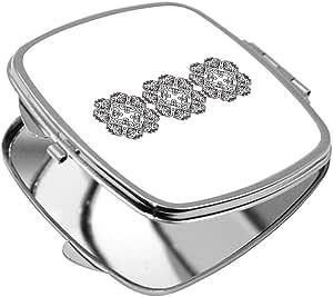 مرآة جيب، بتصميم رسوم زخرفية عمودية، شكل مربع
